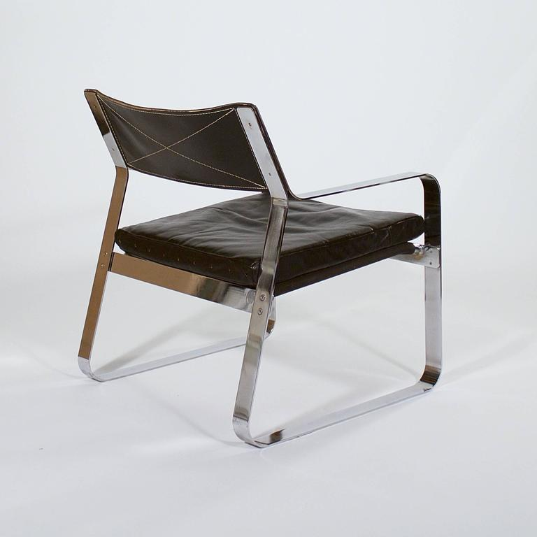 Scandinavian Modern Polished Steel and Black Leather Armchair For Sale