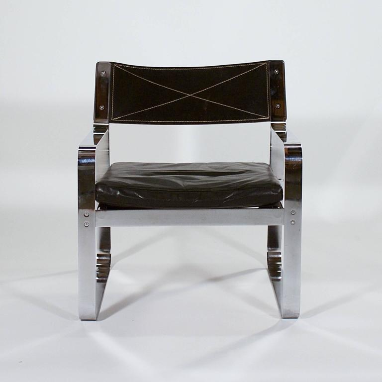 Danish Polished Steel and Black Leather Armchair For Sale