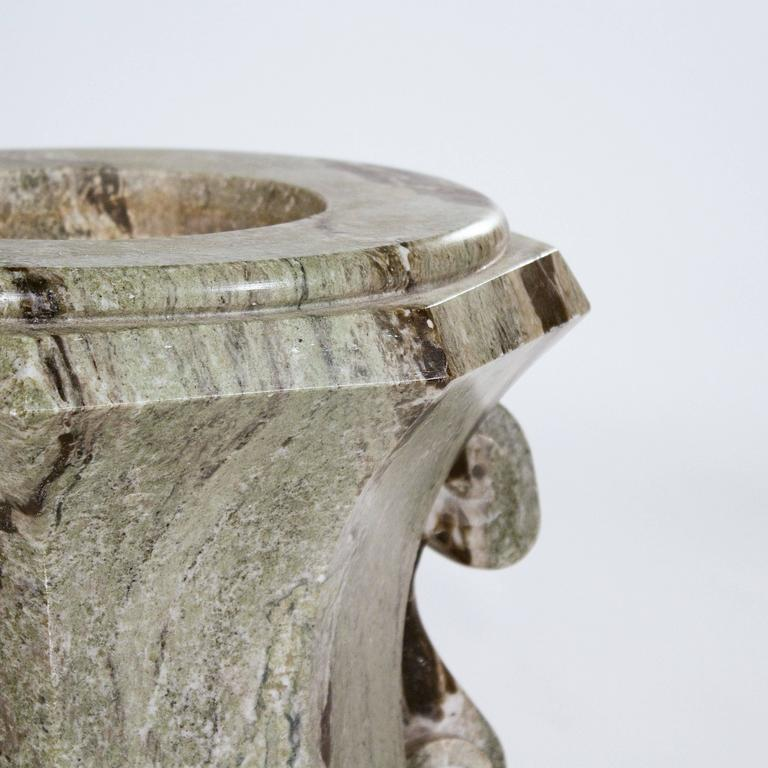 Carved Large Swedish Green Marble Urn For Sale