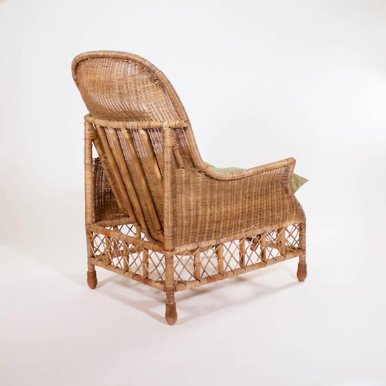 Large wicker and cane armchair at 1stdibs for Oversized armchairs for sale