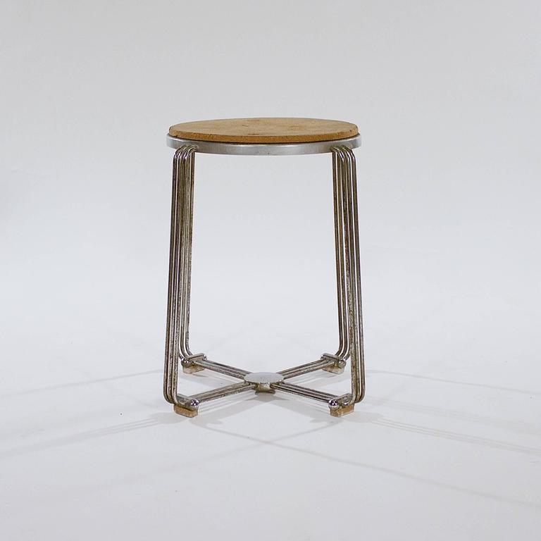 Die-Cast Aluminium and Chrome Stool by Alpax 2