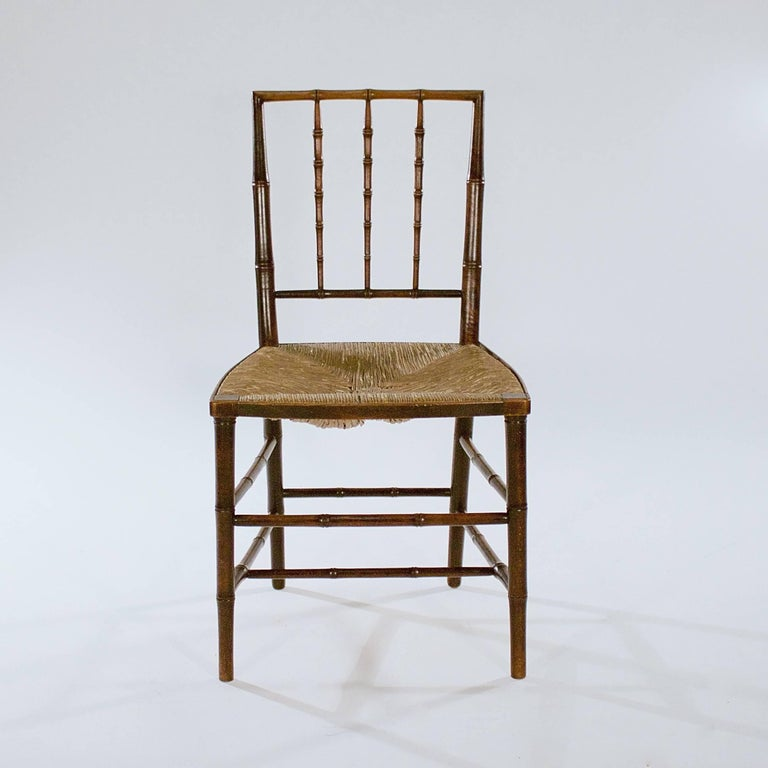 English Pair of George III Stained Beech Faux Bamboo Side Chairs For Sale