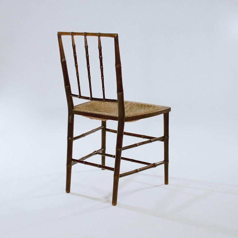 Pair of George III Stained Beech Faux Bamboo Side Chairs In Good Condition For Sale In Babworth, GB