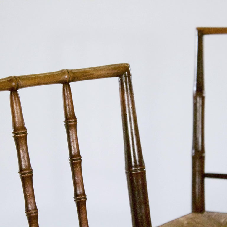 Early 19th Century Pair of George III Stained Beech Faux Bamboo Side Chairs For Sale