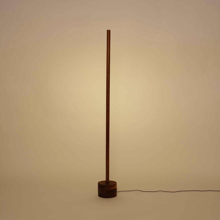 Other Circle Walnut LED Line Light Sculpture For Sale
