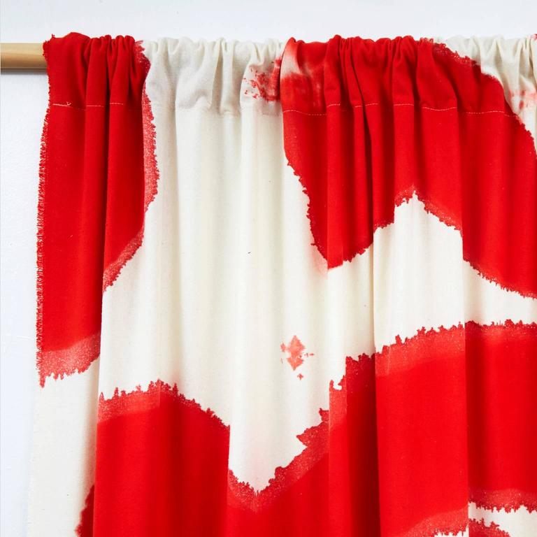 Other Amoeba Hand Painted Silk Noil Red Curtain For Sale