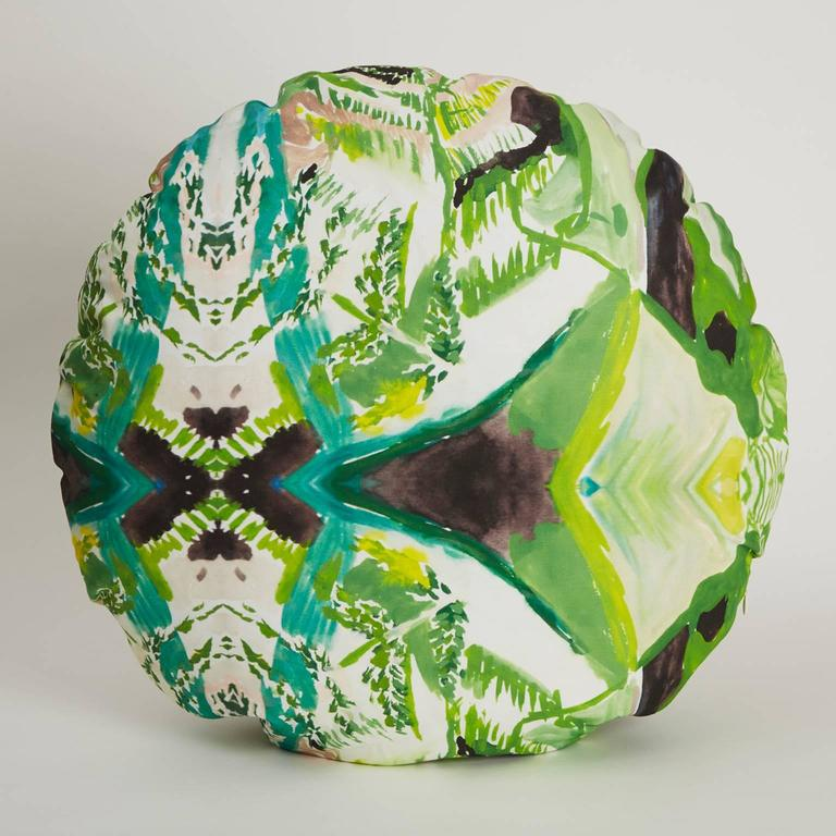 The Circle Fern Pillow is digitally printed with an original watercolor painting by Naomi Clark. Every piece out of Clark's abstract and richly colored print collection for Fort Makers adds beauty, art and comfort to the home.  Materials: linen