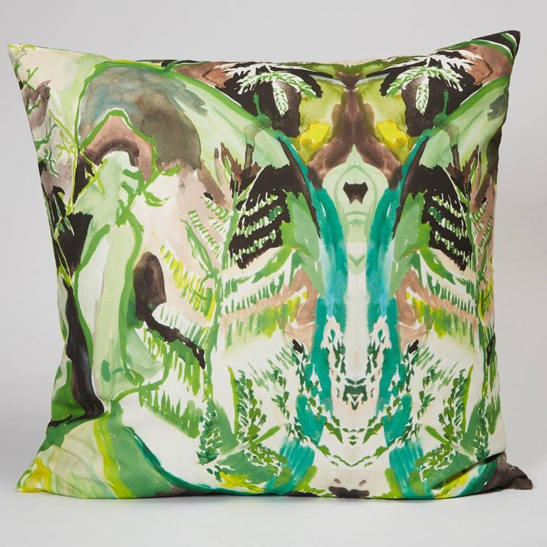 The Square Fern Pillow is digitally printed with an original watercolor painting by Naomi Clark. Every piece out of Clark's abstract and richly colored print collection for Fort Makers adds beauty, art and comfort to the home.  Materials: linen