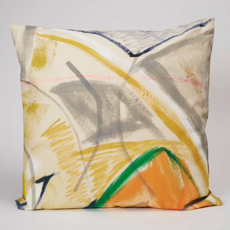 Hand-painted by artist Naomi Clark, each cotton canvas pillow is a piece of a much larger, abstract canvas painting. When ordered in multiples, you will receive pillows that are all part of the same composition. These pillows are completely unique