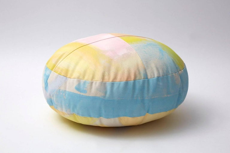 Hand-Painted Cotton Canvas Circular Sherbert Ottoman In New Condition For Sale In Brooklyn, NY