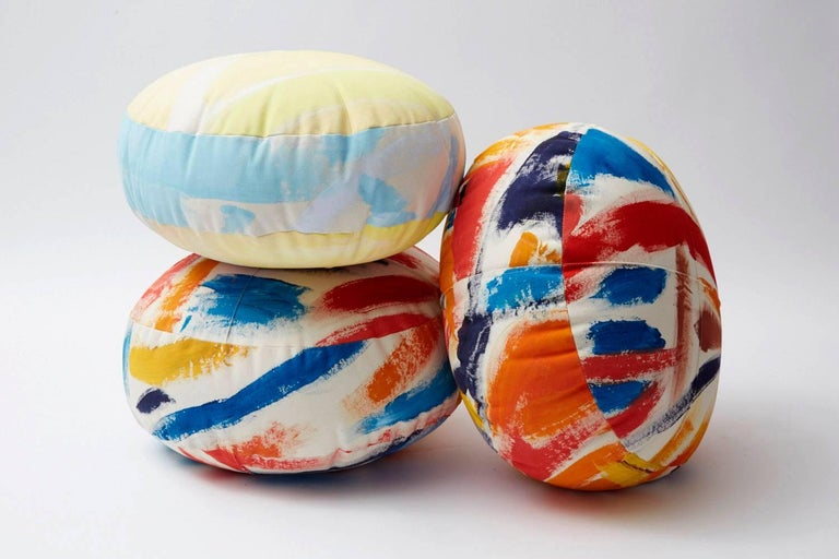 American Hand-Painted Cotton Canvas Circular Sherbert Ottoman For Sale