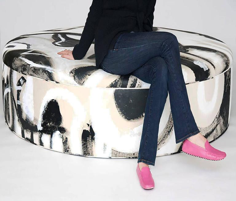 Hand-Painted Black and White Canvas Circle Seat In New Condition For Sale In Brooklyn, NY