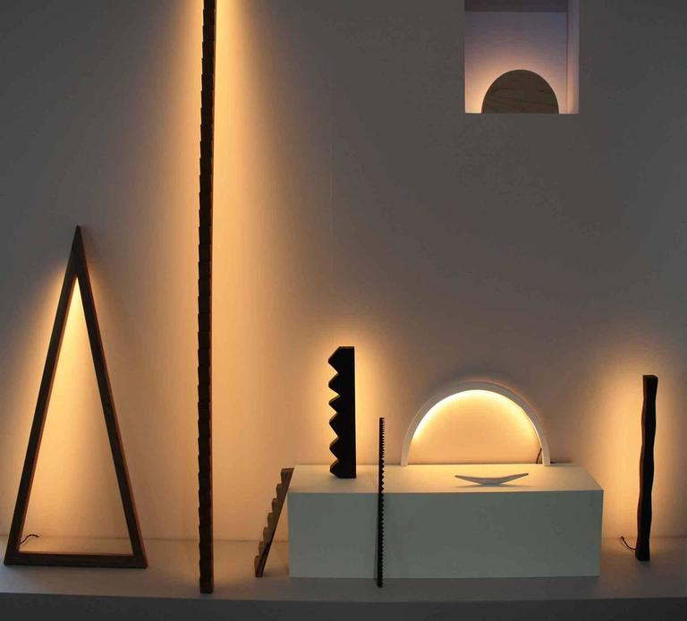 Woodwork Chunky Zag Wenge LED Line Light Sculpture For Sale