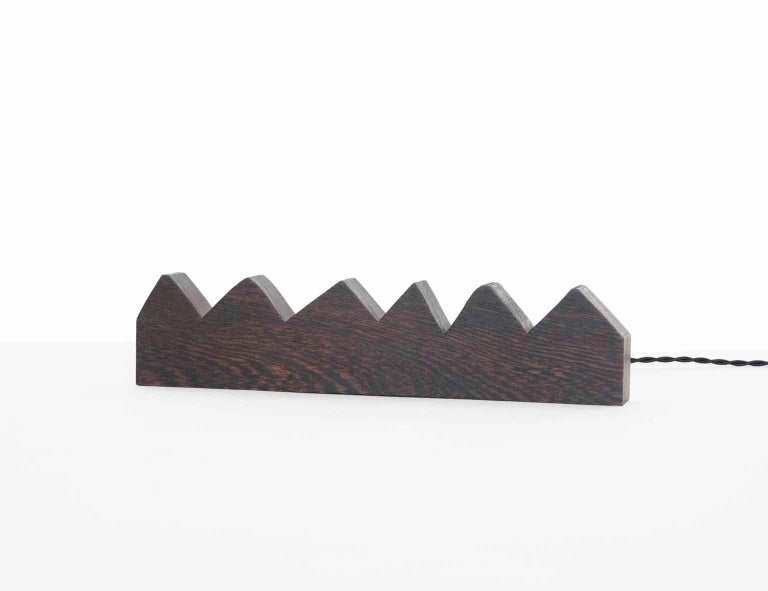 American Chunky Zag Wenge LED Line Light Sculpture For Sale