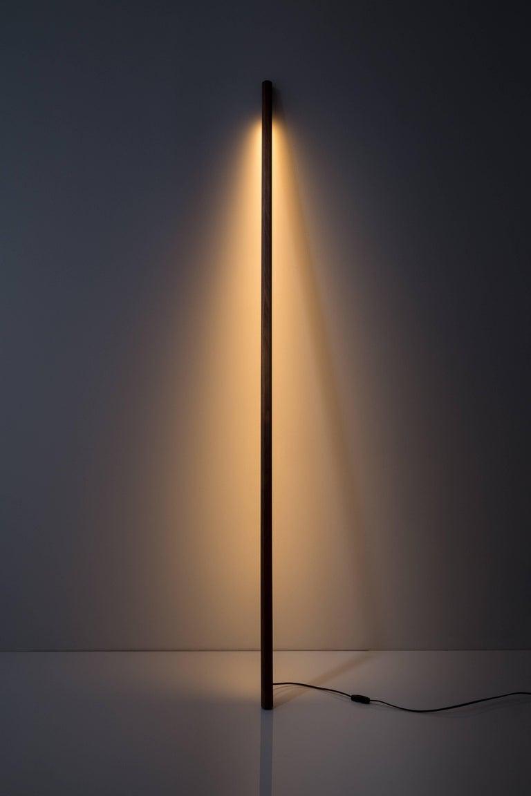 American Walnut LED Line Light Sculpture For Sale