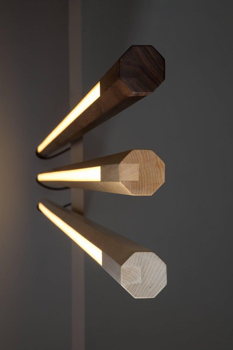 Walnut LED Line Light Sculpture For Sale 2