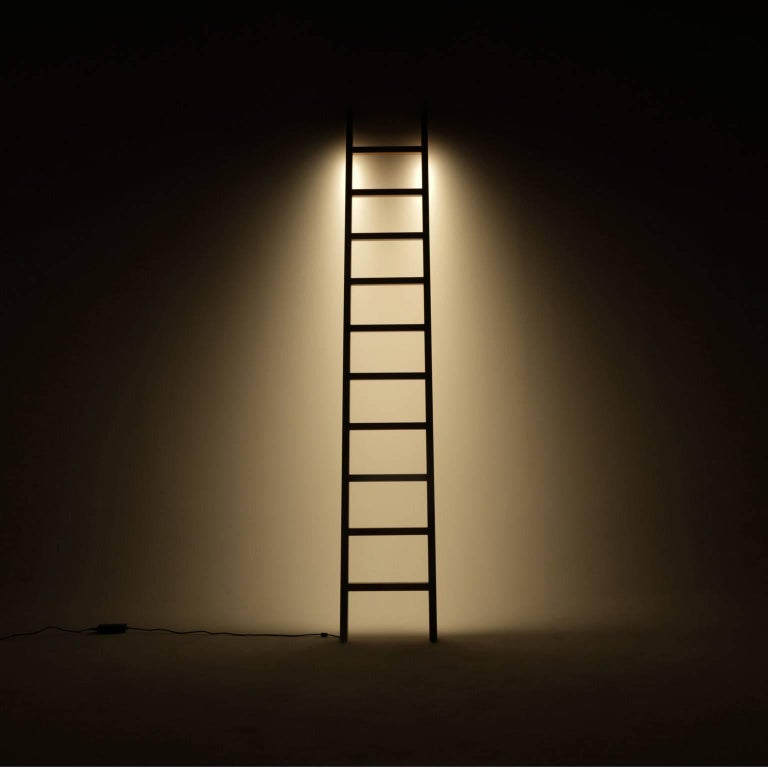 Hand-Crafted Ladder LED Line Light Sculpture For Sale