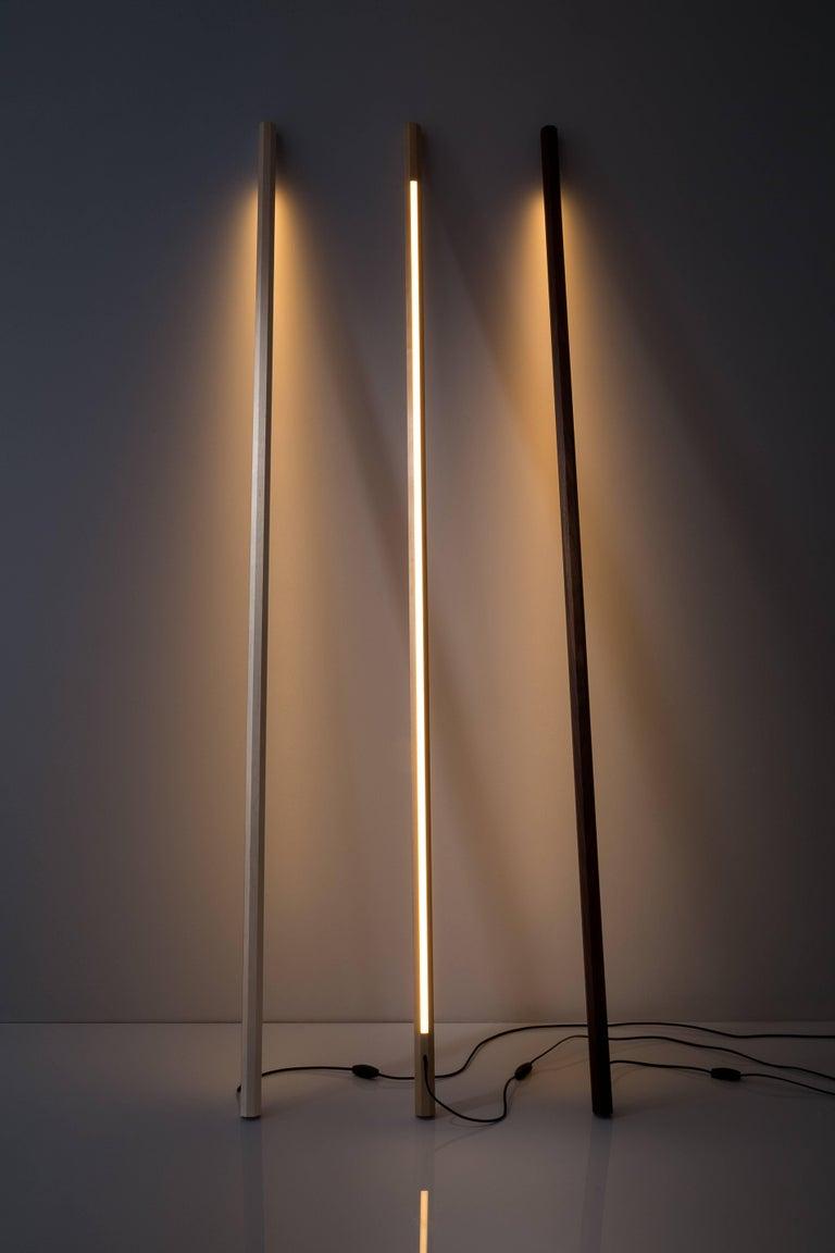 Woodwork Bleached Maple LED Line Light Sculpture For Sale