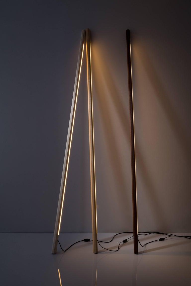 Contemporary Bleached Maple LED Line Light Sculpture For Sale