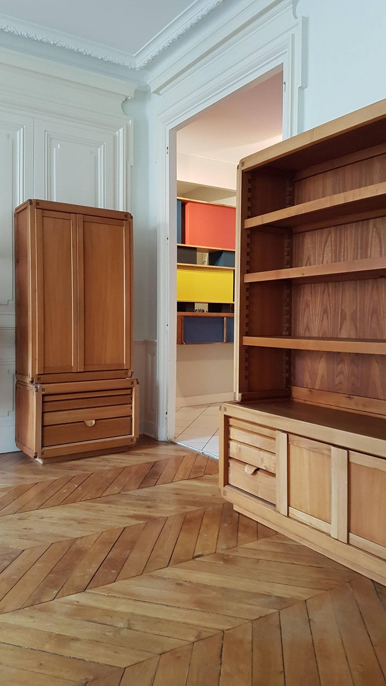 Bookcase Cabinet De Pierre Chapo in French Elm from 1970 In Excellent Condition For Sale In Lyon, FR