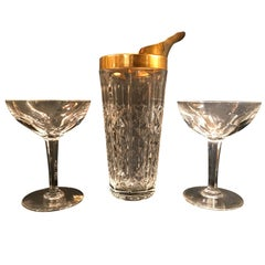 Val Saint Lambert Crystal and Gold Leaf Cocktail Mixing Jug