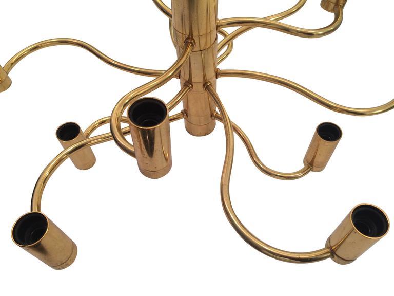 Mid-Century Modern Sciolari Brass Chandelier For Sale