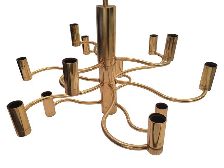 Sciolari Brass Chandelier In Good Condition For Sale In London, GB