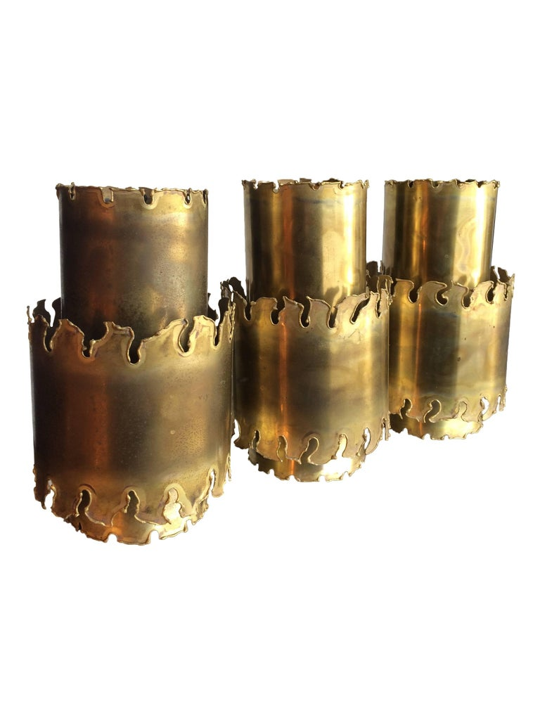 Set Of Three Holm Sorensen Brass Pendant Lights For Sale