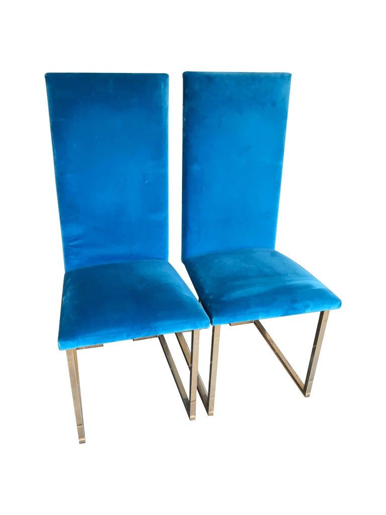 Mid-Century Modern Set of 4 Willy Rizzo Dining Chairs For Sale