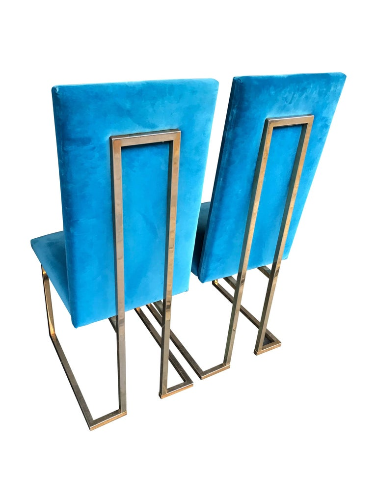 Set of 4 Willy Rizzo Dining Chairs In Good Condition For Sale In London, GB