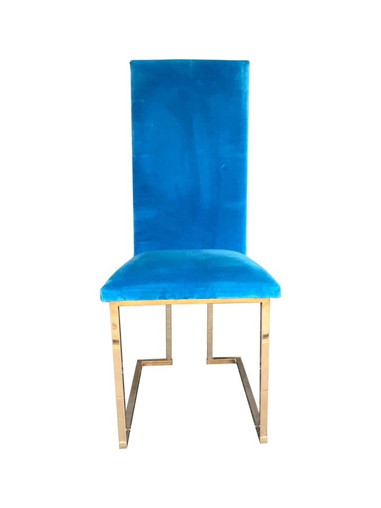 Late 20th Century Set of 4 Willy Rizzo Dining Chairs For Sale