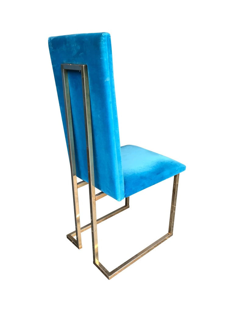 Metal Set of 4 Willy Rizzo Dining Chairs For Sale