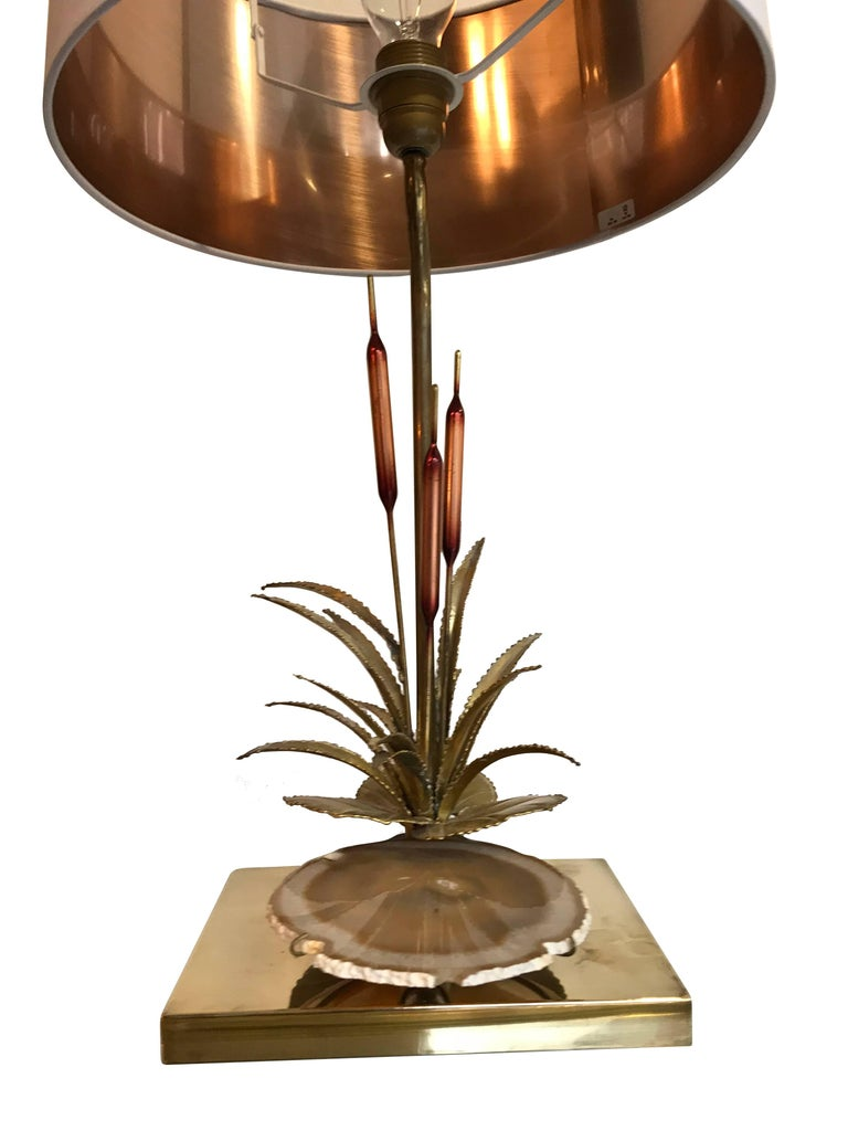 Mid-Century Modern Willy Daro Bulrush Lamp with under Lit Agate Slice For Sale