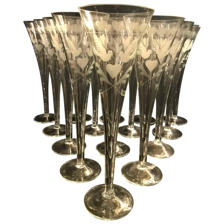 Vintage French Engraved Champagne Flutes For Sale