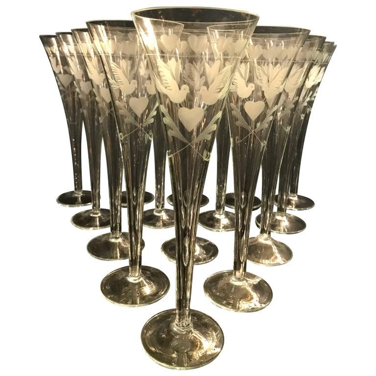 Vintage French Engraved Champagne Flutes 1