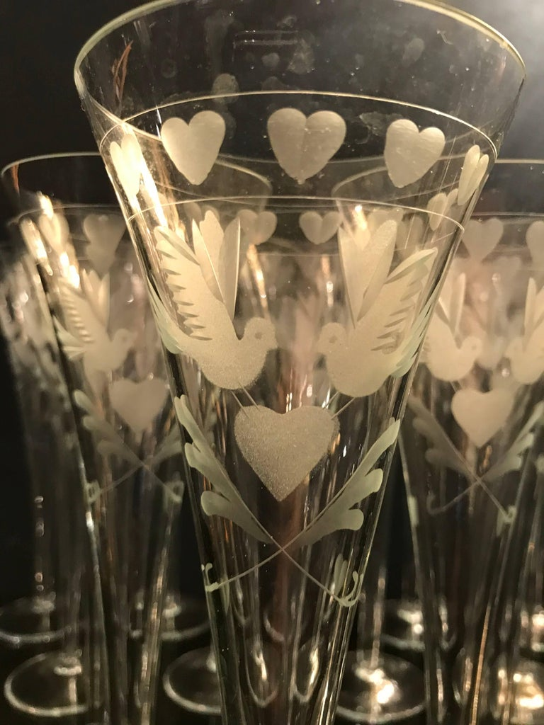 Mid-20th Century Vintage French Engraved Champagne Flutes For Sale