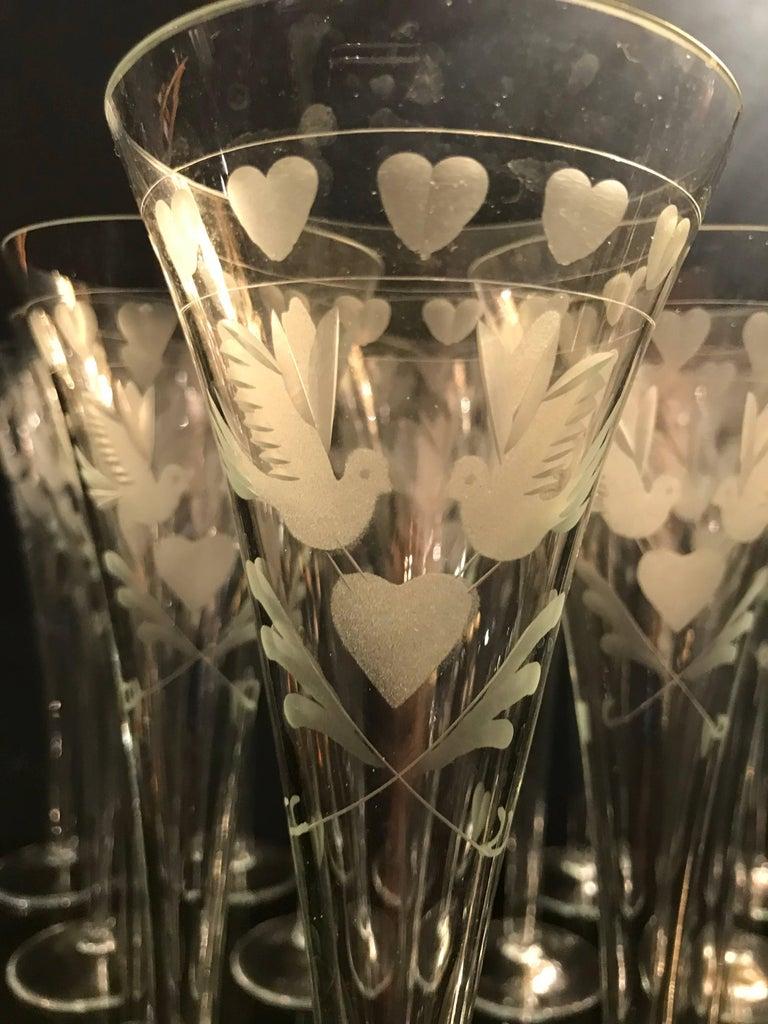 Vintage French Engraved Champagne Flutes 5