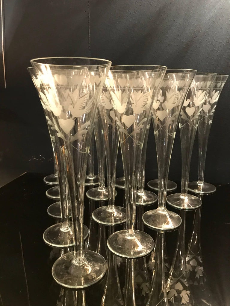 Vintage French Engraved Champagne Flutes For Sale 1