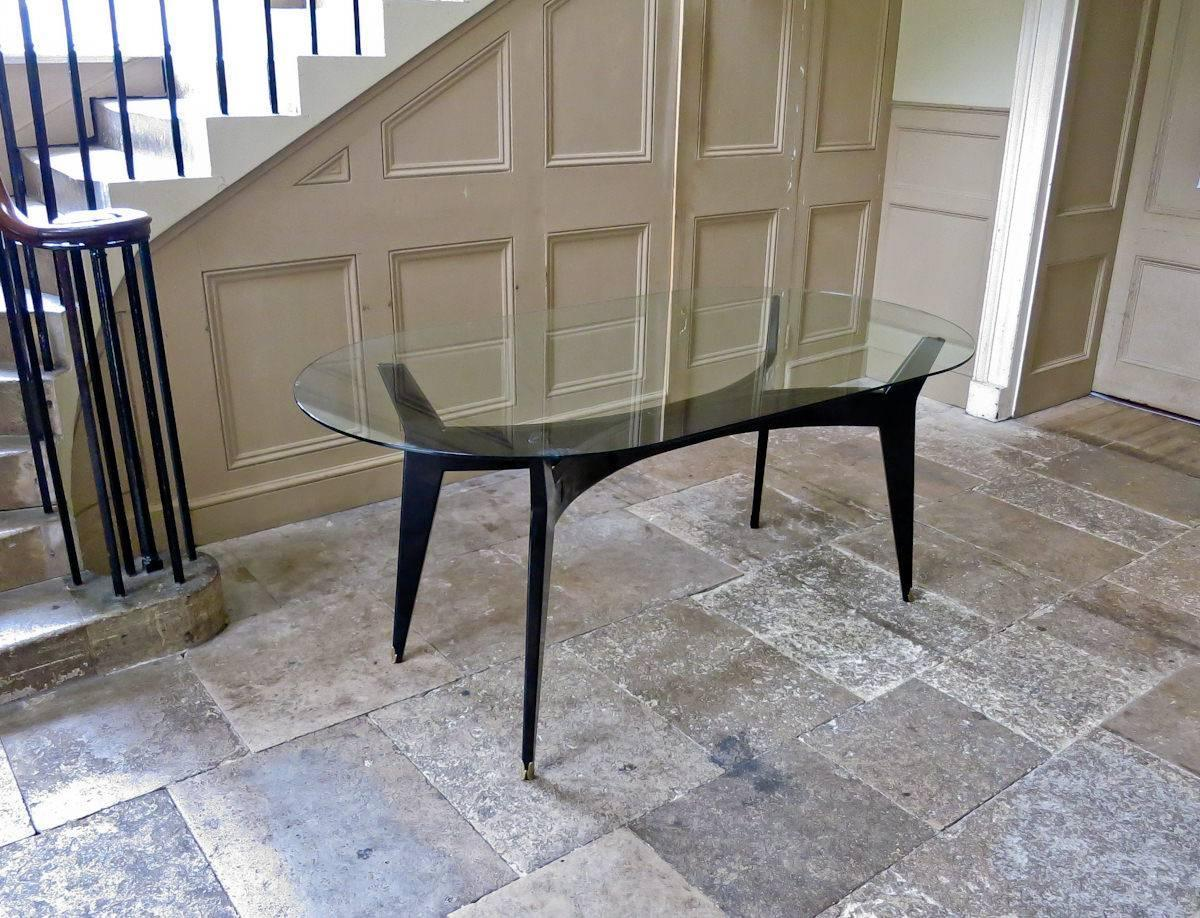Modern Italian Glass Top Dining Table Ebonized Base 1950s At 1stdibs
