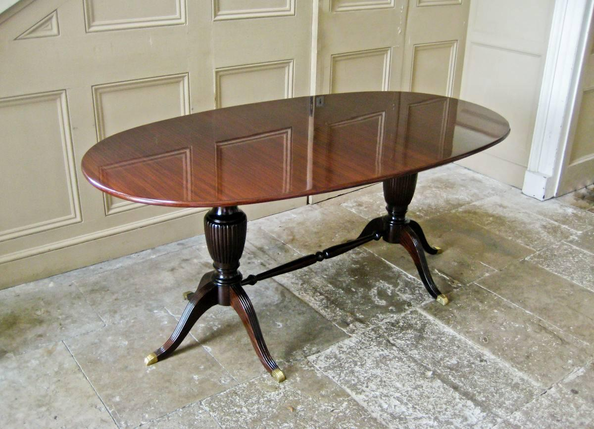 Italian Dining Table In Mahogany And Brass 1950s For Sale At 1stdibs