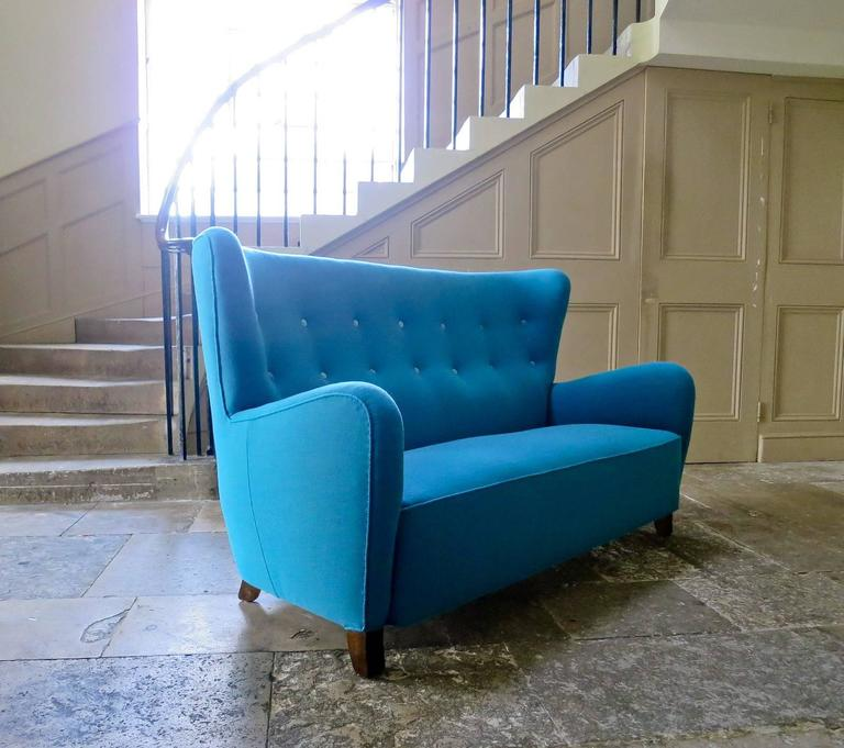 Mid century danish high back sofa in wool and velvet - Gelbe couch ...