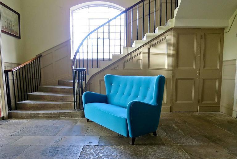 Mid Century Danish High Back Sofa In Wool And Velvet, 1940s 3