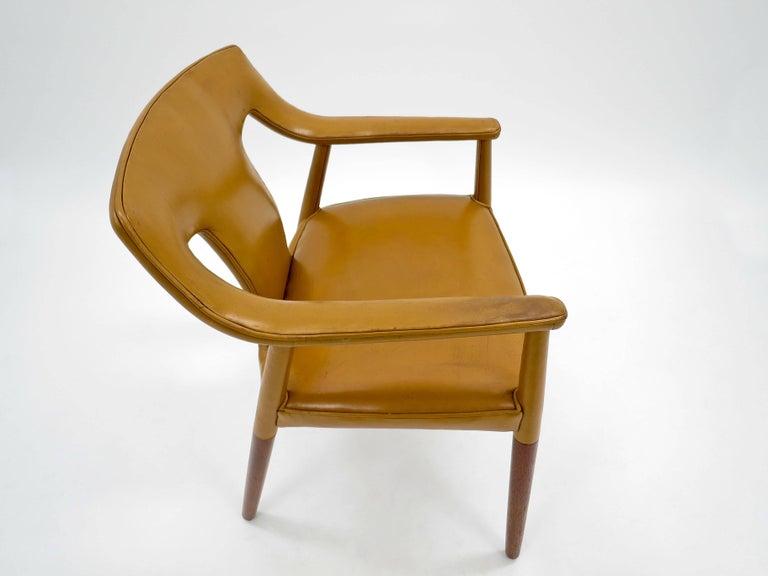 Bender Madsen and Larsen Armchair Leather and Teak, Danish, 1950s 6