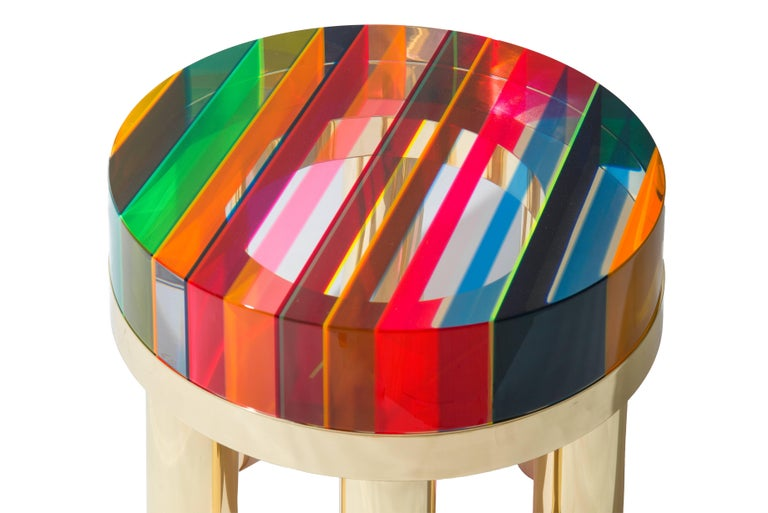 """DNA"" coffee table plexiglass of different colors with the brass base designed and produced by Studio Superego."