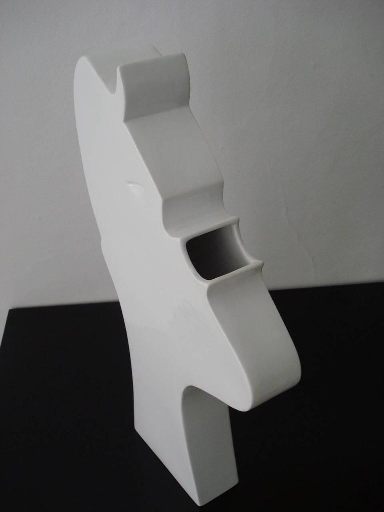 Contemporary Ambrogio Pozzi Ceramic Sculpture Model Face by Superego Editions, Italy For Sale