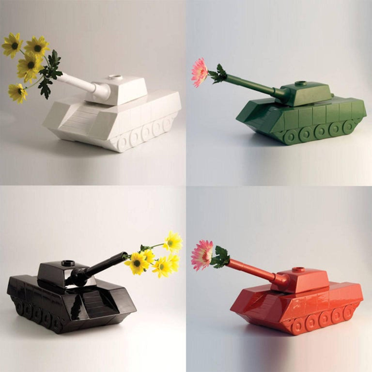 Enameled Andrea Visconti Love Tank Ceramic Sculpture Superego Editions, Italy For Sale