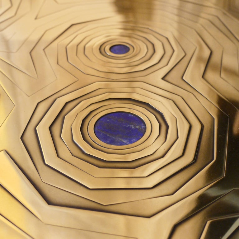 Contemporary Rosanna Coffee Table in Brass and Steel with Inlaid Lapis Lazuli, Erwan Boulloud For Sale