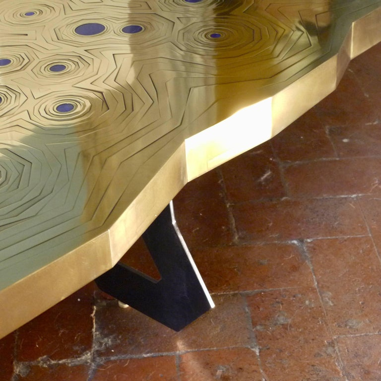 Rosanna Coffee Table in Brass and Steel with Inlaid Lapis Lazuli, Erwan Boulloud For Sale 2