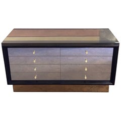 Gucci Late 20th Century Black Lacquered Wood & Bronzed Mirror Chest of Drawers