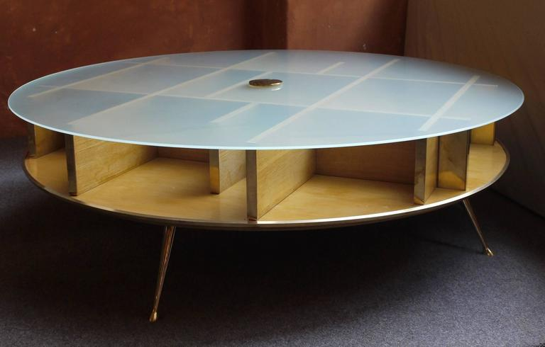 Mid century italian coffee table with frosted glass top and brass finishings for sale at 1stdibs Frosted glass furniture